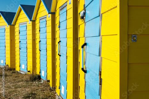 Leinwanddruck Bild Beach Huts, Littlehampton,West Sussex, Uk,
