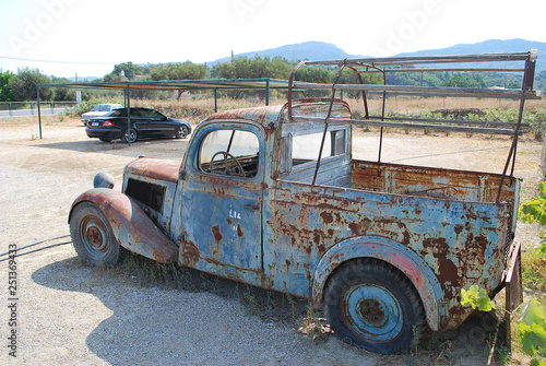 obraz lub plakat Side View of Old Rusty Car Pickup, Rhodes Island, Greece