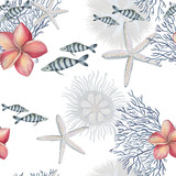 Watercolor painting seamless pattern with fishes, corals, starfish on white background