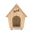 Wooden Cartoon Dog House. 3d Rendering