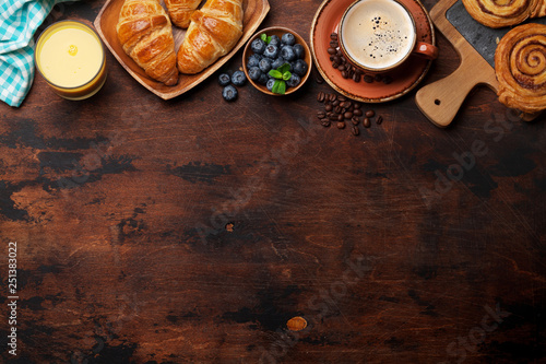 Coffee, juice and croissants breakfast - 251383022