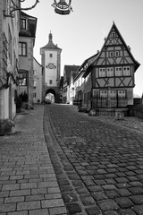 Rothenburg ob der Tauber, Germany - 18 February 2019: The streets of Rothenburg