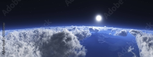 Beautiful clouds view from above, above the clouds blue sky, flying above the clouds - 251389038