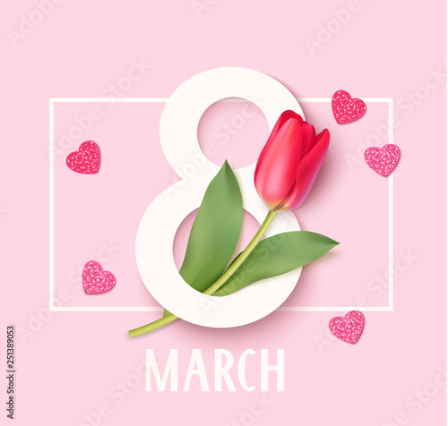 Womens Day 8 March design template. Decorative number eight with eed tulips. Vector illustration