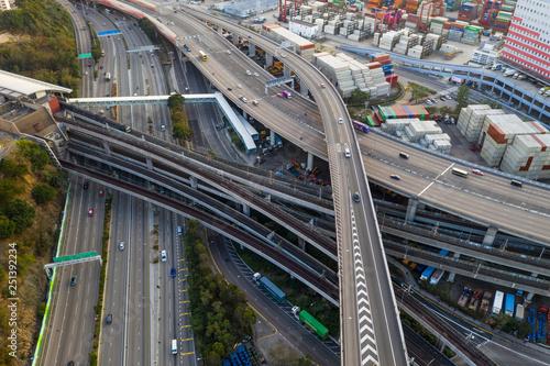 obraz PCV Top view of Hong Kong traffic