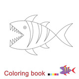 illustration of shark for coloring book. Simple educational game for kids