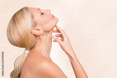 Leinwandbild Motiv Profile side view half face portrait of nice charming attractive woman perfect neck arrows showing lifting direction massage recovery isolated over beige pastel background