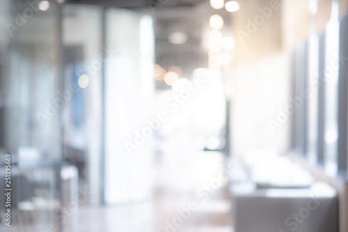 Leinwanddruck Bild Abstract blurred office interior room. blurry working space with defocused effect. use for background or backdrop in business concept