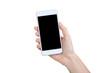 Leinwanddruck Bild - Female hand holding smartphone on white background