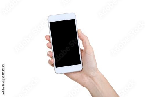 Leinwanddruck Bild Female hand holding smartphone on white background