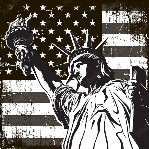 Statue of Liberty symbol of New York and the US flag - 251408455