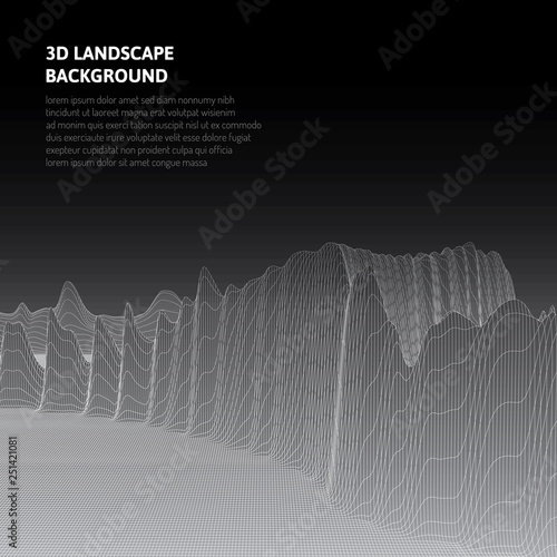 Abstract background with low poly landscape. The space of the virtual world.