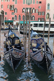 venetian gondolas close up in the canal of Venice, Italy