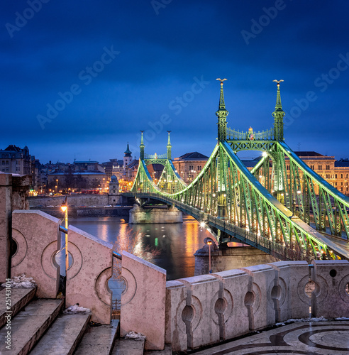 Famous Liberty bridge in Budapest, Hungary - 251431014