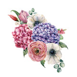 Watercolor hydrangea flowers bouquet. Hand painted pink and violet hydrangea, tulip, anemone and ranunculus with eucalyptus leaves isolated on white background for design, print. - 251432232