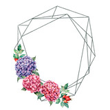 Watercolor polygonal frame with floral bouquet. Hand drawn label with hydrangea and dog rose, leaves and branches, berries isolated on white background. Greeting template for design, print. - 251432480
