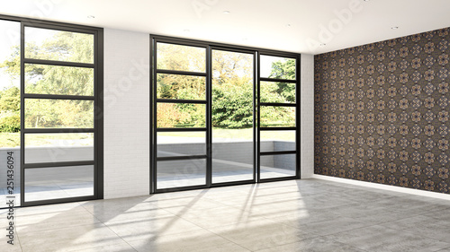 large luxury modern bright interiors room illustration 3D rendering - 251436094