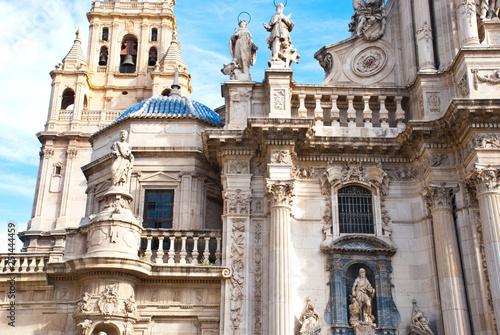 Leinwandbild Motiv Part of ancient cathedral in Spain, Murcia. European architecture church.