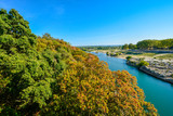 The river Gardon in the Provence region of Southern France on a beautiful sunny day in late summer, early fall
