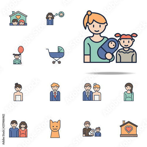 mother with baby and daughter cartoon icon. Family icons universal set for web and mobile - 251466462
