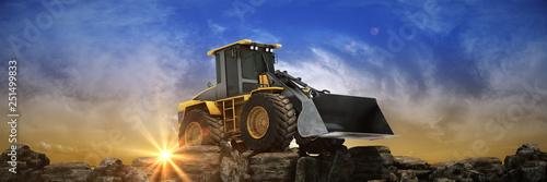 Leinwandbild Motiv Yellow excavator at sunset. 3d rendering