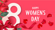 Happy Womens Day. 8 March design template. Decorative gift box with roses. Vector illustration