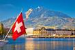 Leinwanddruck Bild - Lake Luzern and town waterfront with Pilatus mountain peak view
