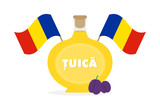 Vector cartoon style illustration of tuica, traditional romanian spirit, alcoholic drink made of plums, decorated with flags of Romania. - 251523420