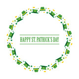 Happy St.Patrick's Day cartoon style round frame with leprechaun hats, shamrock and coins isolated on white background. - 251523436