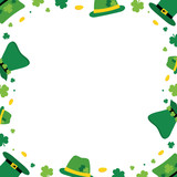Vector cartoon style card template, frame, border or background for St. Patrick's Day holiday with leprechaun hats, coins, shamrock. - 251523456