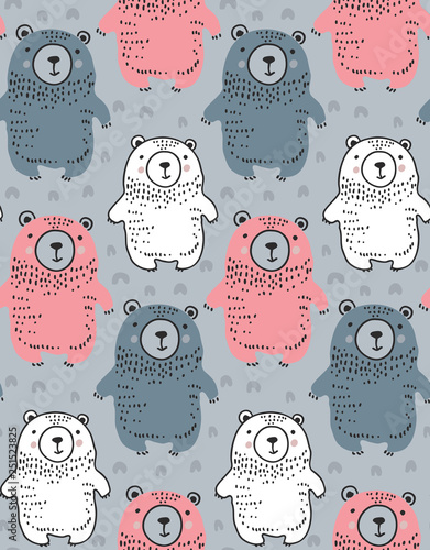 mata magnetyczna Vector seamless pattern with hand drawn wild forest animals,
