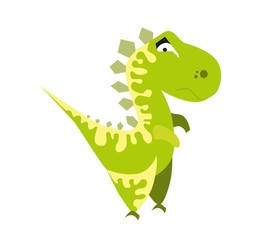 Cute green dinosaur. Cartoon dino. Vector illustration. Tyrannosaurus