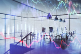 Double exposure of stock market chart and office desktop on background. financial strategy concept. 3d render - 251533245