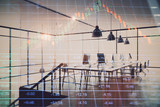 Double exposure of stock market chart and office desktop on background. financial strategy concept. 3d render - 251533246