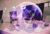 Double exposure of stock market chart and office desktop on background. financial strategy concept. 3d render - 251533249