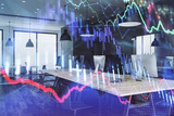 Double exposure of stock market chart and office desktop on background. financial strategy concept. 3d render - 251533255