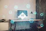 AI (Artificial Intelligence) concept. deep learning. Double exposure desktop background. 3d render - 251533264