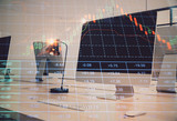 Double exposure of stock market chart and office desktop on background. financial strategy concept. 3d render - 251533278