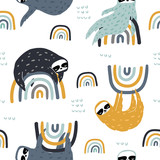 Seamless childish pattern with funny sloths on rainbows. Creative kids texture for fabric, wrapping, textile, wallpaper, apparel. Vector illustration - 251552282