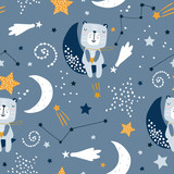 Seamless childish pattern with cute bears on clouds, moon, stars. Creative scandinavian style kids texture for fabric, wrapping, textile, wallpaper, apparel. Vector illustration - 251553669