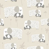 Seamless pattern with cute mom and baby elephant. Creative childish texture. Great for fabric, textile Vector Illustration - 251553823