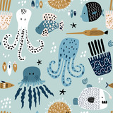 Seamless pattern with creative and colorful fishes, octopus, jellyfish, devil fish,fish hedgehog. Creative undersea childish texture. Great for fabric, textile Vector Illustration - 251553878