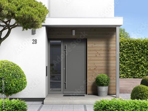 moderner hauseingang von außen mit haustür und seitenteil - 3d rendering nach eigenem entwurf - 251564470