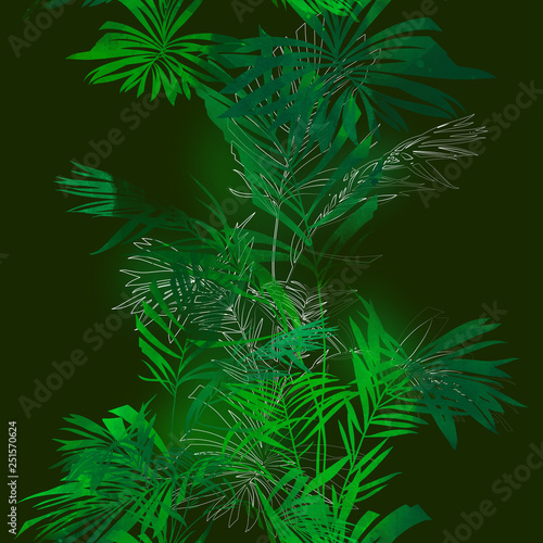 imprints palm leaves mix repeat seamless pattern. digital hand drawn picture with watercolour texture. mixed media © rively