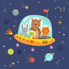 Cute Animals with space illustration