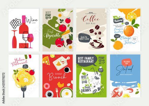Set of restaurant menu, brochure, flyer design templates. Vector illustrations for food and drink marketing material, natural products presentation, cover design, wine list and cocktail menu templates - 251578272