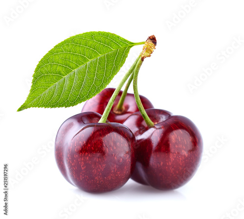 Sweet cherry with leaf - 251597296