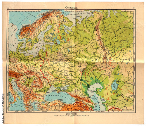 Old map of East Europe in 1943 © Volodymyr