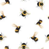 Watercolor bumblebee vector pattern - 251615439