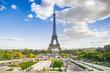PARIS, FRANCE - 02 OCTOBER 2018: Eiffel tower, symbol of Paris , captured from Trocadero square